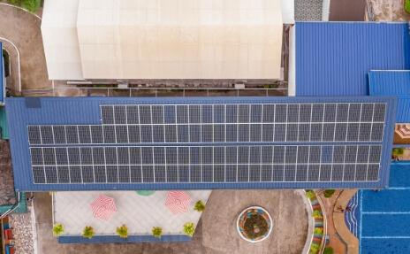 Hotel roof solar panels